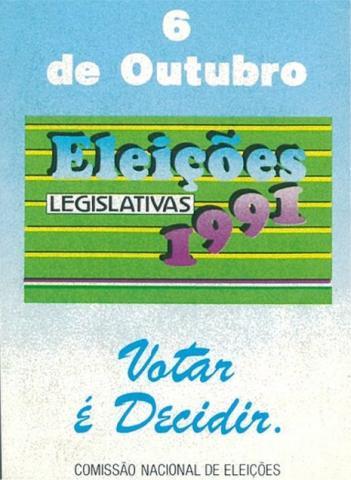 Autocolante - Eleição da Assembleia da República/1991